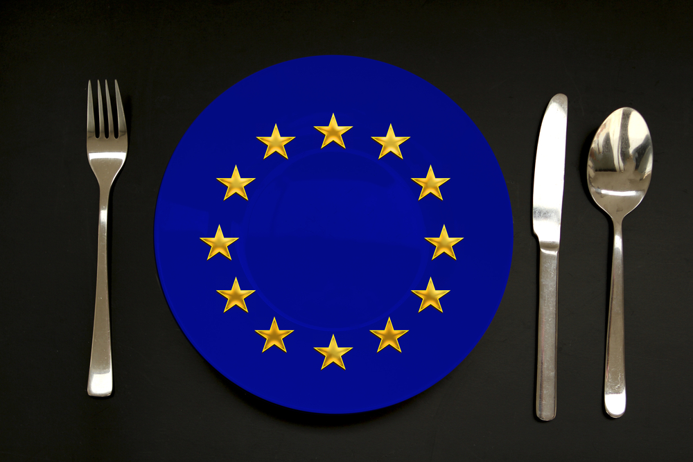 plate with a flag of the European Union, copy space